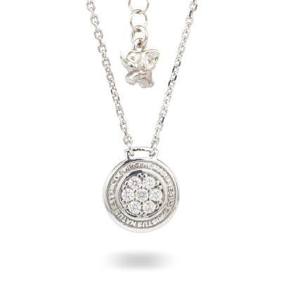 Collana Natività Bambina argento e pietre bianche gioielli Ellius