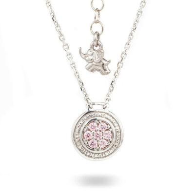 Collana Natività Bambina argento e pietre rosa gioielli Ellius
