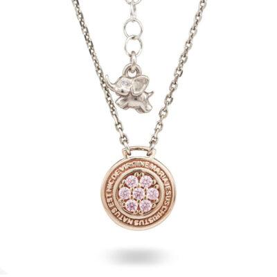 Collana Natività Bambina argento rose e pietre rosa gioielli Ellius