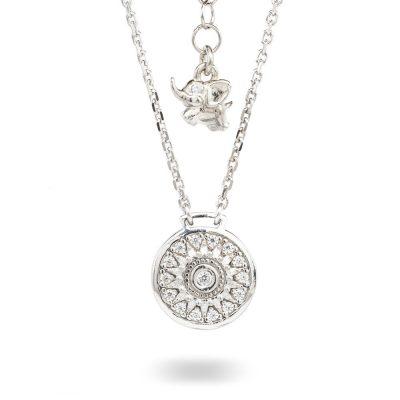 Collana Natività Bambina retro argento e pietre bianche gioielli Ellius