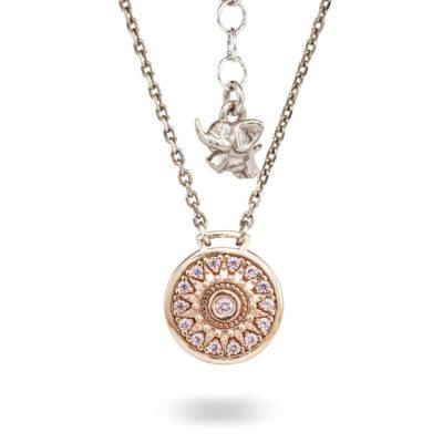 Collana Natività Bambina retro argento rose e pietre rosa gioielli Ellius