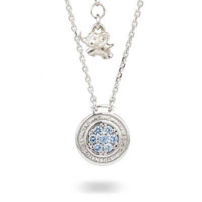 Collana Natività Bambino argento e pietre azzurre gioielli Ellius