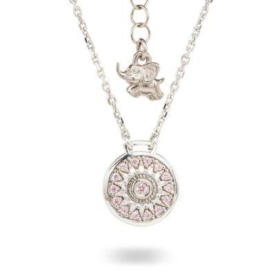 Collana Natività retro Bambina argento e pietre rosa gioielli Ellius