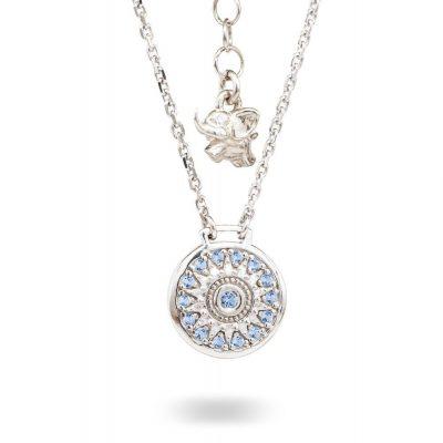 Collana Natività retro Bambino argento e pietre azzurre gioielli Ellius