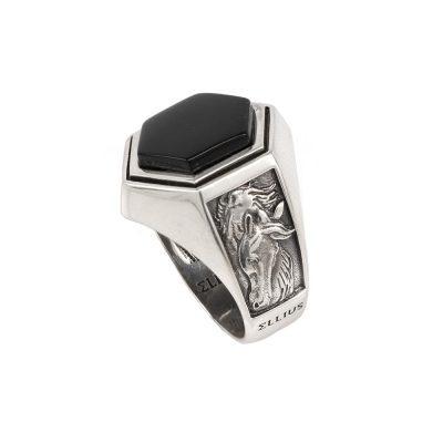 anello argento cavallo pietra cavaliere ellius gioiello