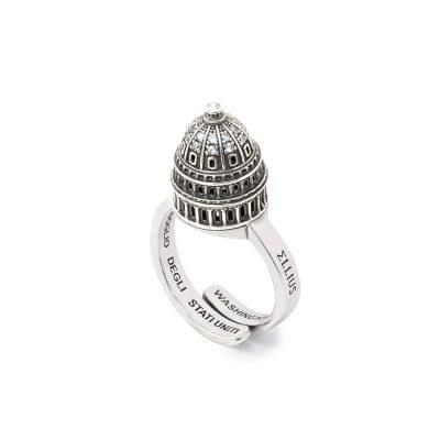 Anello Cupola Minimal campidoglio di Washington argento ellius