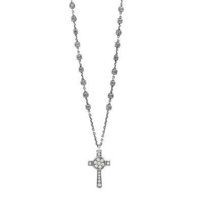 Collana Rosario Natività Croce pietre bianco gioiello argento Ellius