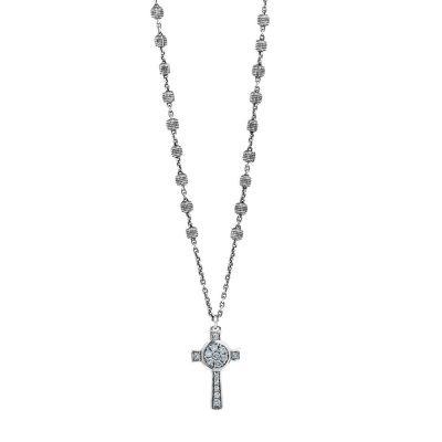 Collana Rosario Natività Croce pietre celeste gioiello argento Ellius
