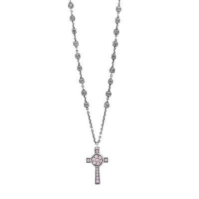 Collana Rosario Natività Croce pietre rosa gioiello argento Ellius