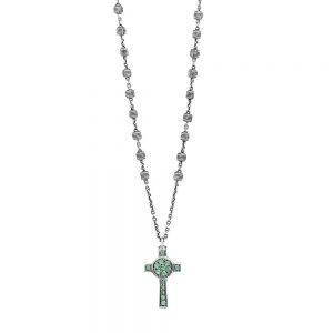 Collana Rosario Natività Croce pietre verde gioiello argento Ellius