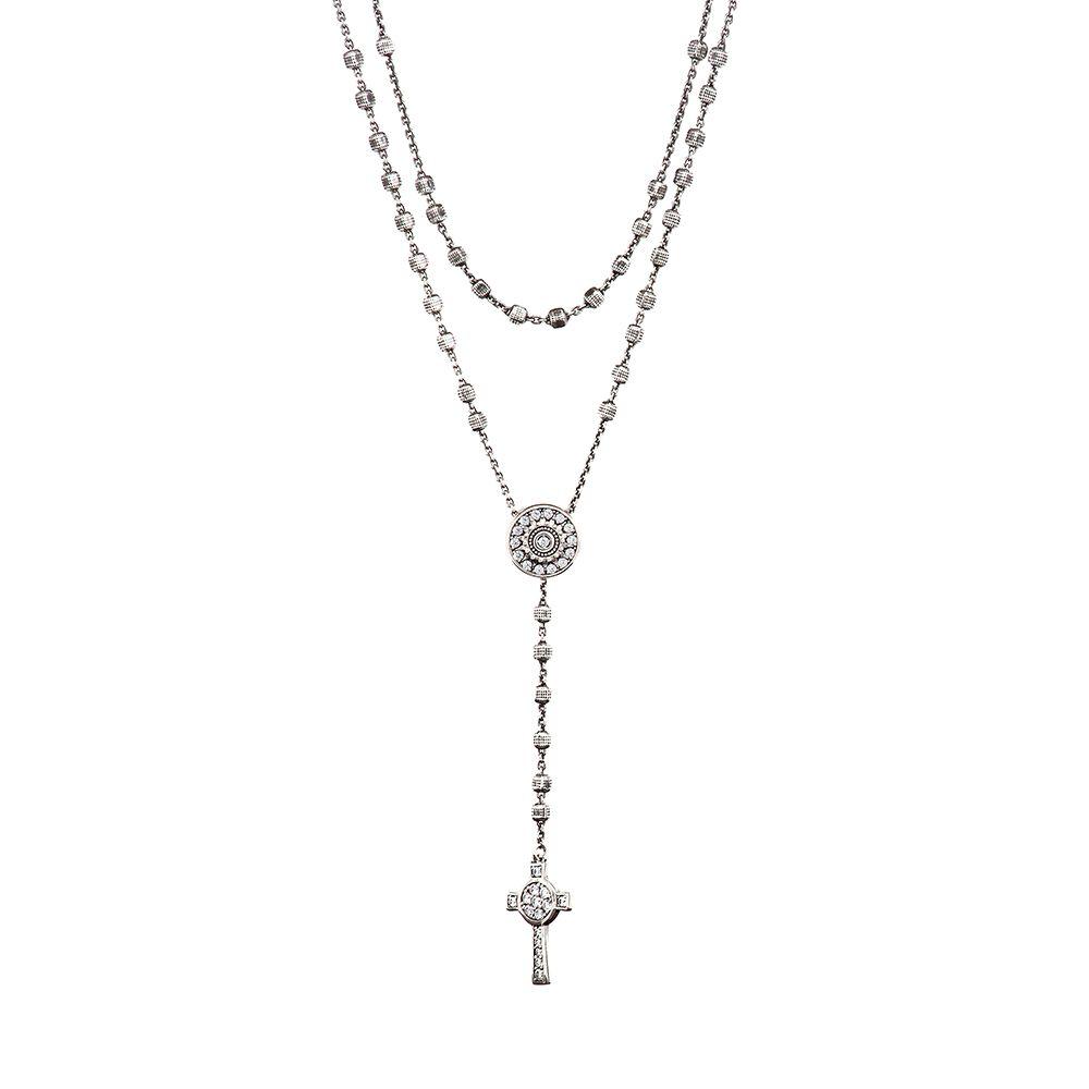 Collana Rosario Natività Stella e Croce doppia pietre bianco gioiello argento Ellius