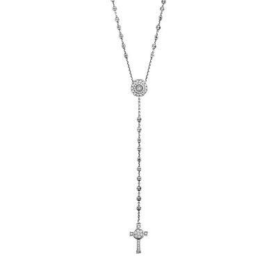 Collana Rosario Natività Stella e Croce pietre bianco gioiello argento Ellius