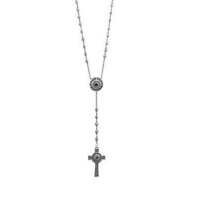 Collana Rosario Natività Stella e Croce pietre nera Uomo gioiello argento Ellius