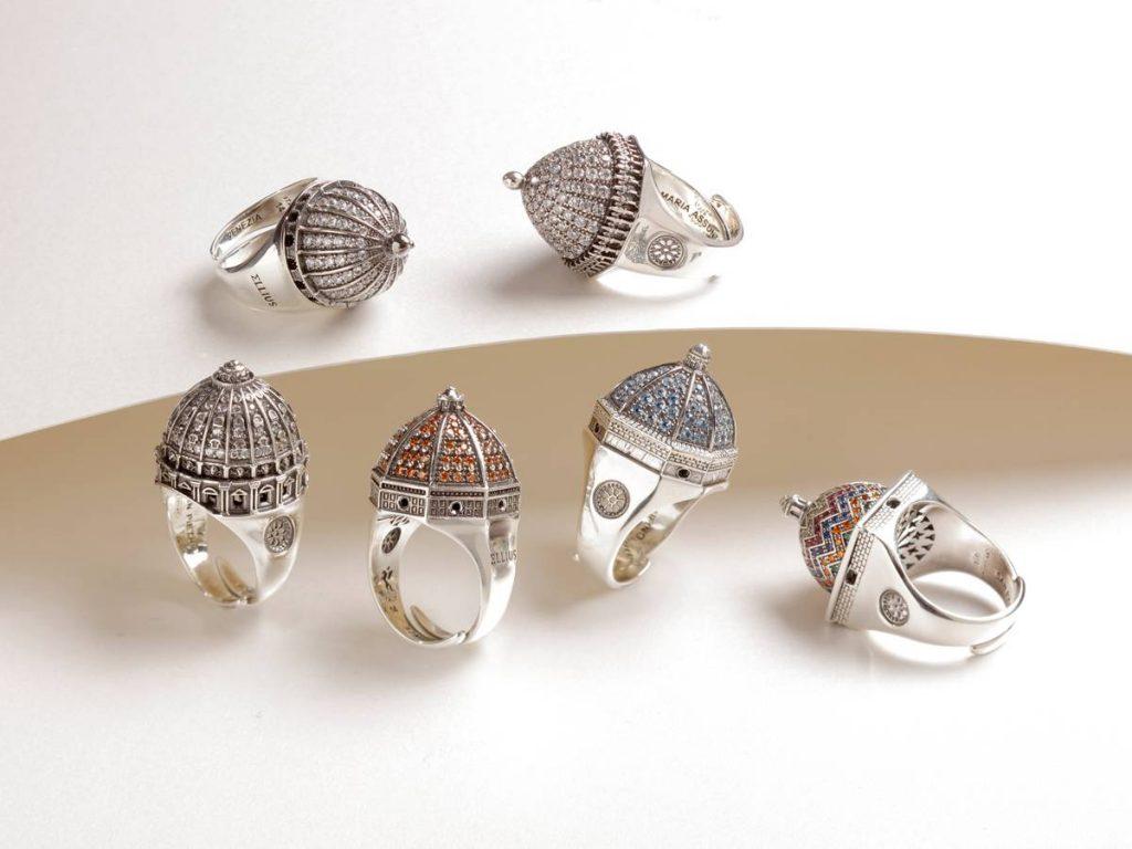 Anelli in argento ispirati all'architettura delle Cupole