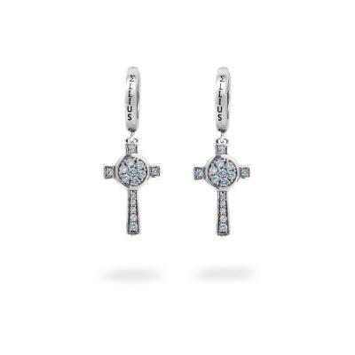 Orecchini Cerchio Croce Natività pietre celeste gioielli argento Ellius