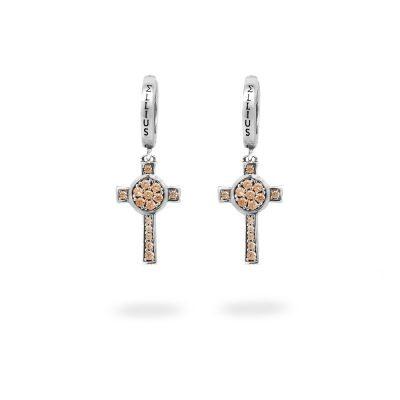 Orecchini Cerchio Croce Natività pietre champagne gioielli argento Ellius