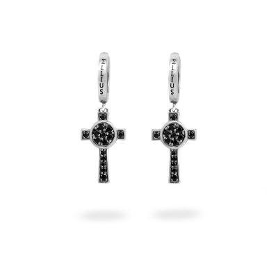 Orecchini Cerchio Croce Natività pietre nero gioielli argento Ellius