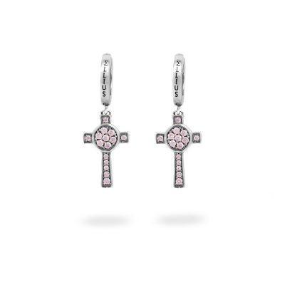 Orecchini Cerchio Croce Natività pietre rosa gioielli argento Ellius
