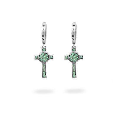 Orecchini Cerchio Croce Natività pietre verde gioielli argento Ellius