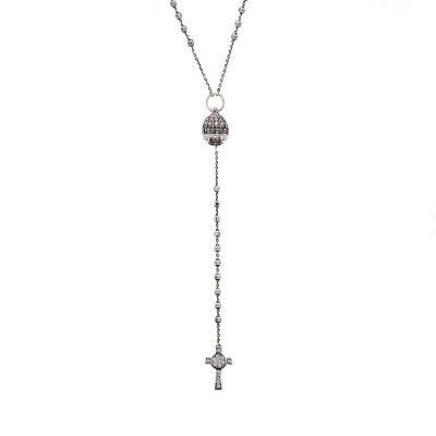 collana Rosario cappella san pietro roma e croce natività pietre bianco argento ellius