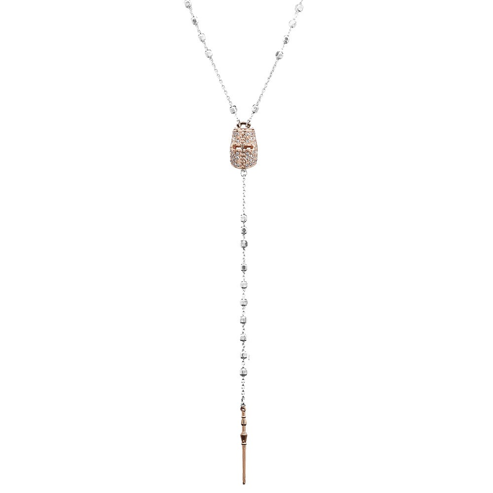collana rosario cavaliere rosè con pietre bianche e lancia donna gioielli ellius