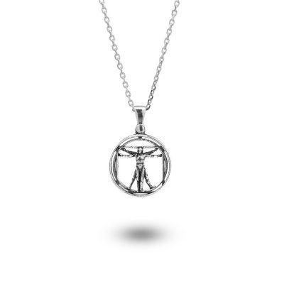 Collana Charm Uomo Vitruviano gioiello argento Ellius