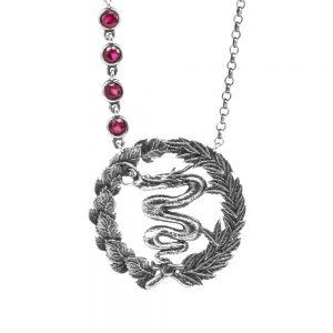 collana drago visconti pietre fucsia donna gioielli argento ellius
