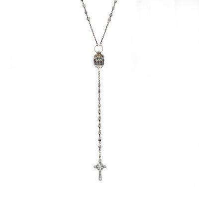 Collana Rosario Santuario Tindari Messina e Croce Natività gioiello argento ellius