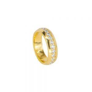 anello con pietre bianche dorato solaris donna gioielli argento ellius