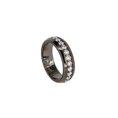 anello con pietre bianche rutenio solaris donna gioielli argento ellius