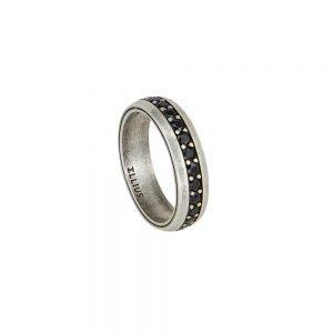 anello con pietre nere argento invecchiato solaris uomo gioielli ellius