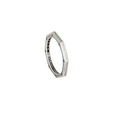 anello ottagono argento invecchiato liscio solaris uomo gioielli argento ellius