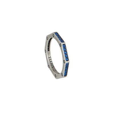 anello ottagono argento invecchiato pietre blu solaris uomo gioielli argento ellius