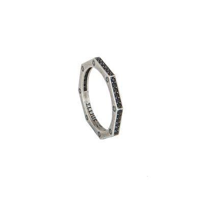 anello ottagono argento invecchiato pietre nere solaris uomo gioielli argento ellius