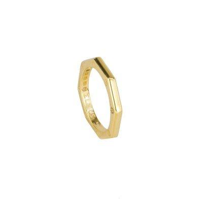 anello ottagono dorato liscio solaris donna gioielli argento ellius