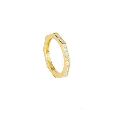 anello ottagono dorato pietre bianche solaris donna gioielli argento ellius