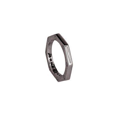 anello ottagono rutenio liscio solaris donna gioielli argento ellius