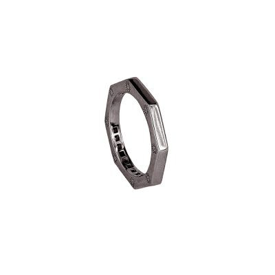anello ottagono rutenio liscio solaris uomo gioielli argento ellius