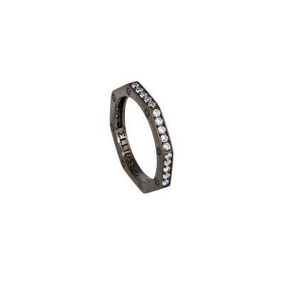 anello ottagono rutenio pietre bianche solaris donna gioielli argento ellius