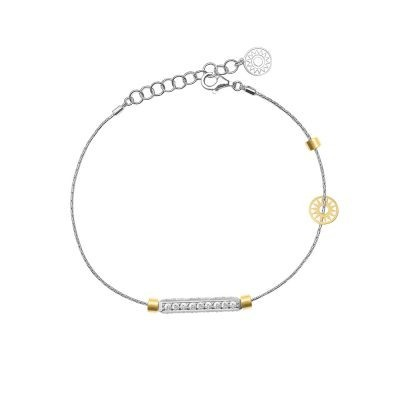 bracciale donna 1 raggio rodio pietre bianche solaris gioielli argento ellius