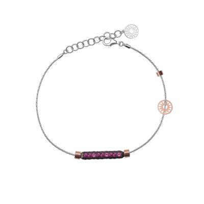 bracciale donna 1 raggio rodio pietre ruby solaris gioielli argento ellius
