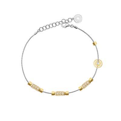 bracciale donna 3 raggi rodio pietre champagne solaris gioielli argento ellius