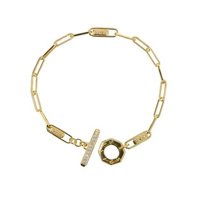 bracciale donna catena tbar dorato pietre champagne e bianche solaris gioielli argento ellius