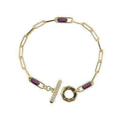 bracciale donna catena tbar dorato pietre ruby e bianche solaris gioielli argento ellius