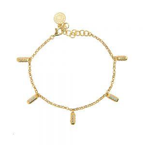 bracciale donna ciondoli raggi mini dorato pietre champagne e bianche solaris gioielli argento ellius