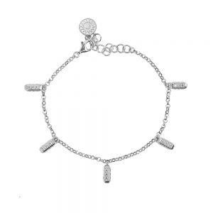 bracciale donna ciondoli raggi mini rodio pietre bianche solaris gioielli argento ellius