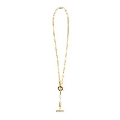 collana donna catena tbar dorato pietre champagne e bianche solaris gioielli argento ellius