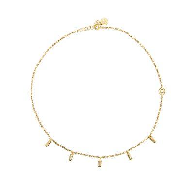 collana donna ciondoli raggi mini dorata pietre bianche e champagne solaris gioielli argento ellius