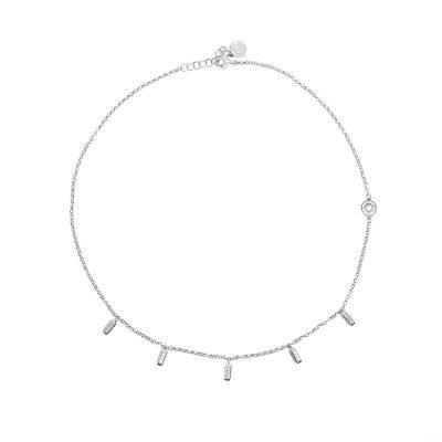 collana donna ciondoli raggi mini rodio pietre bianche solaris gioielli argento ellius