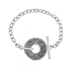 bracciale donna catena t bar rodio pietre bianche era gioielli argento ellius